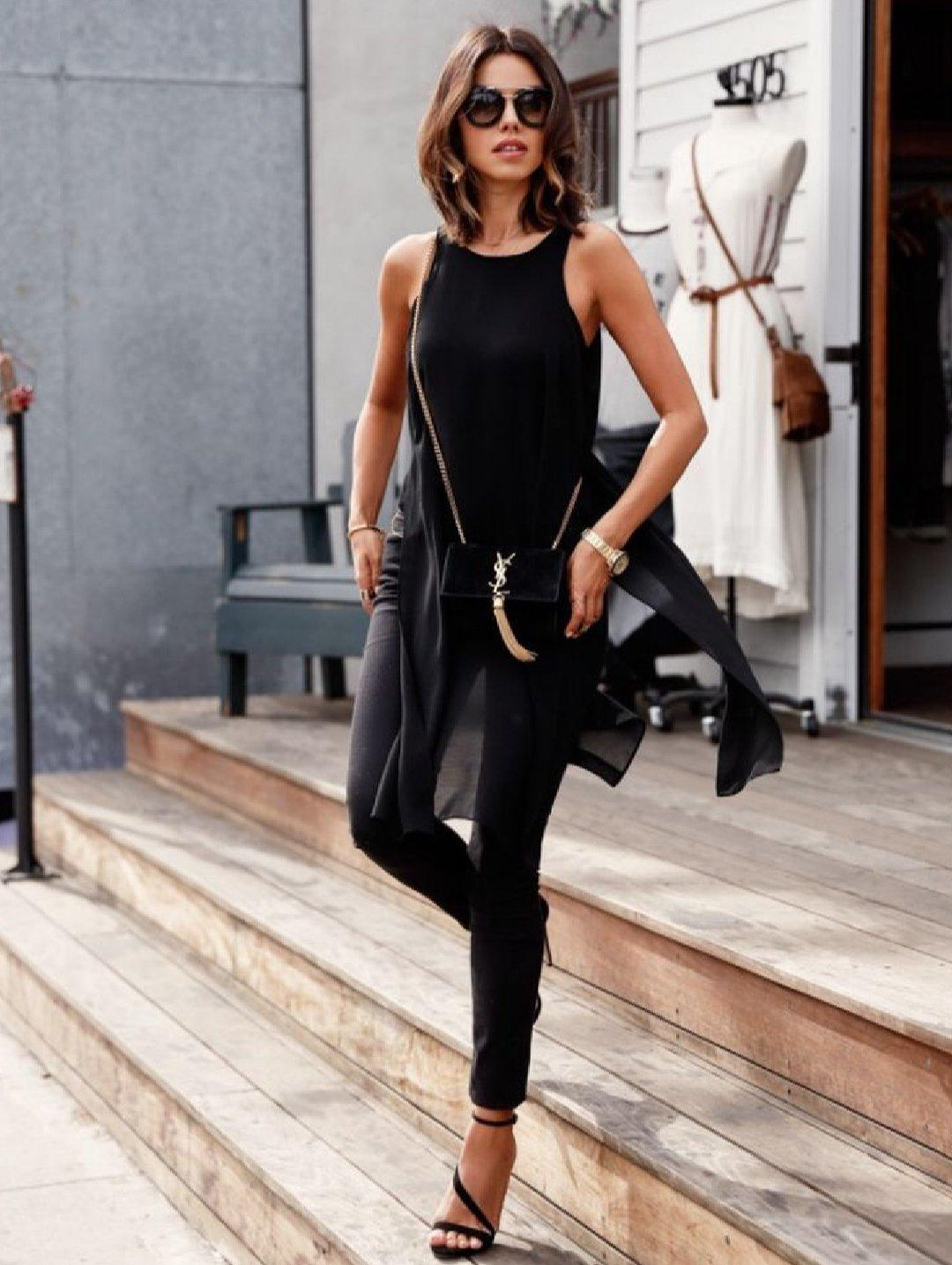 A stylish black outfit is perfect for special occasions