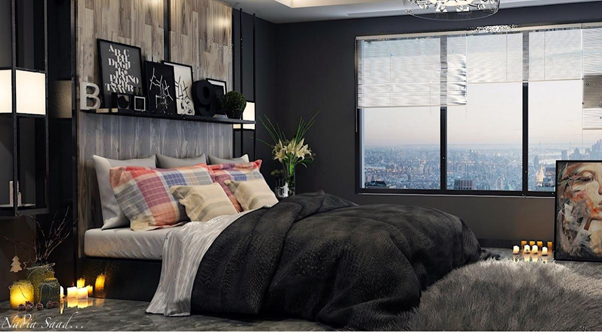 Excellent dark bedroom interior designs. A large bed with many blankets and pillows, accessories and a huge window, all to create comfort