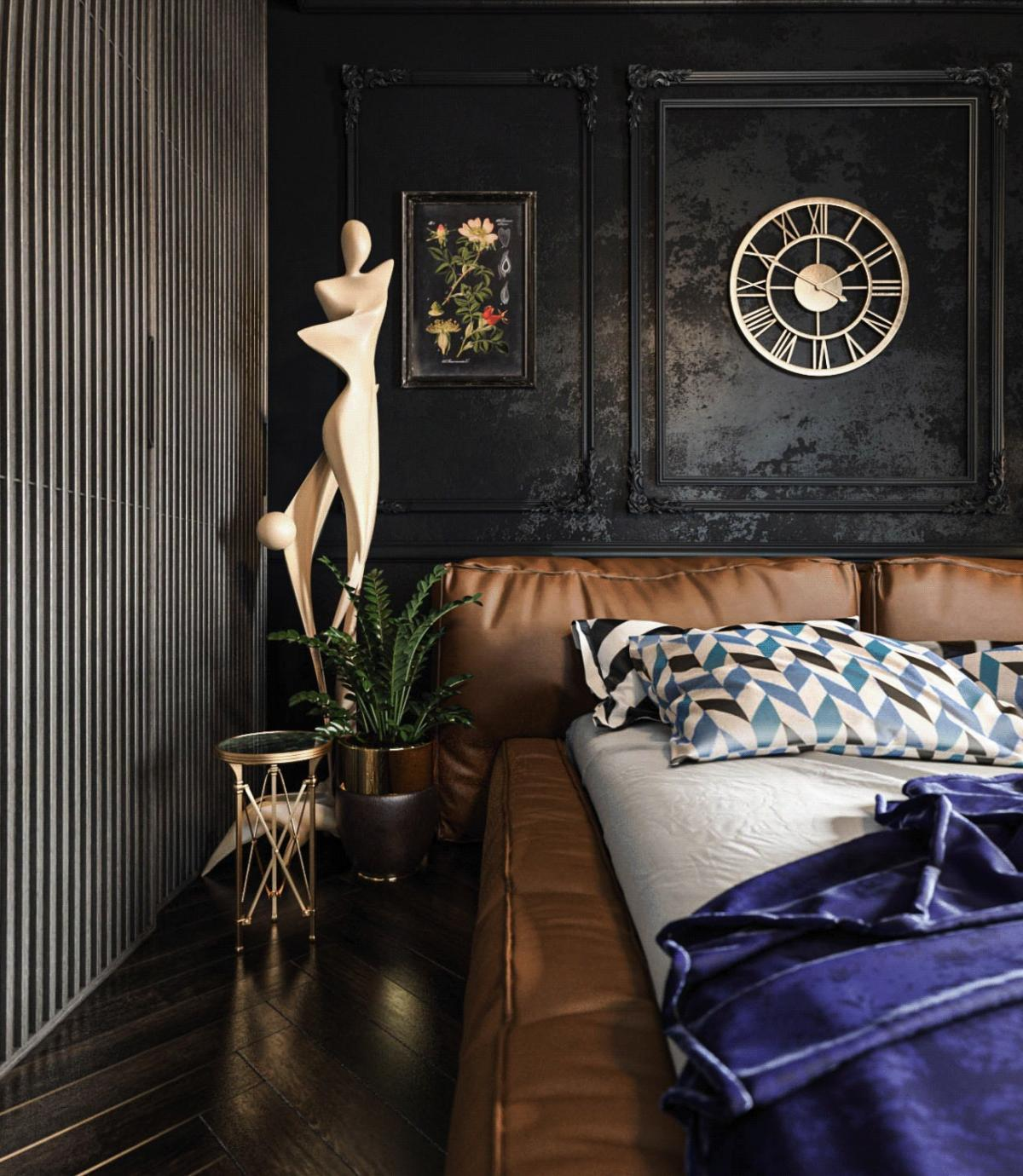 A bit more about dark bedroom interiors