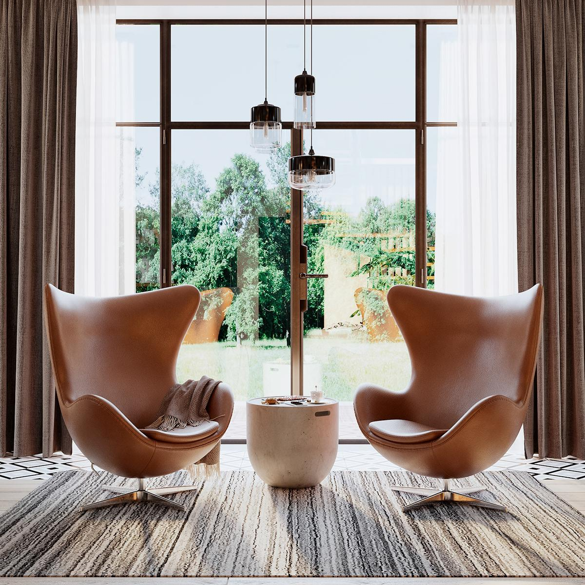 The perfect combination of a warm furniture palette and vibrant accessories in a sophisticated interior design