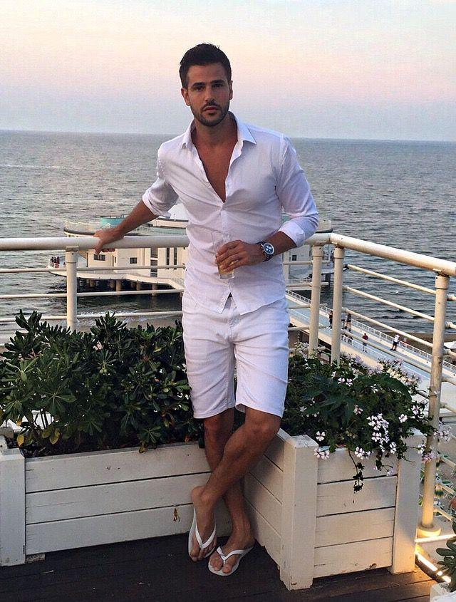 Stylish and elegant summer resort outfit. Perfect white for an evening event