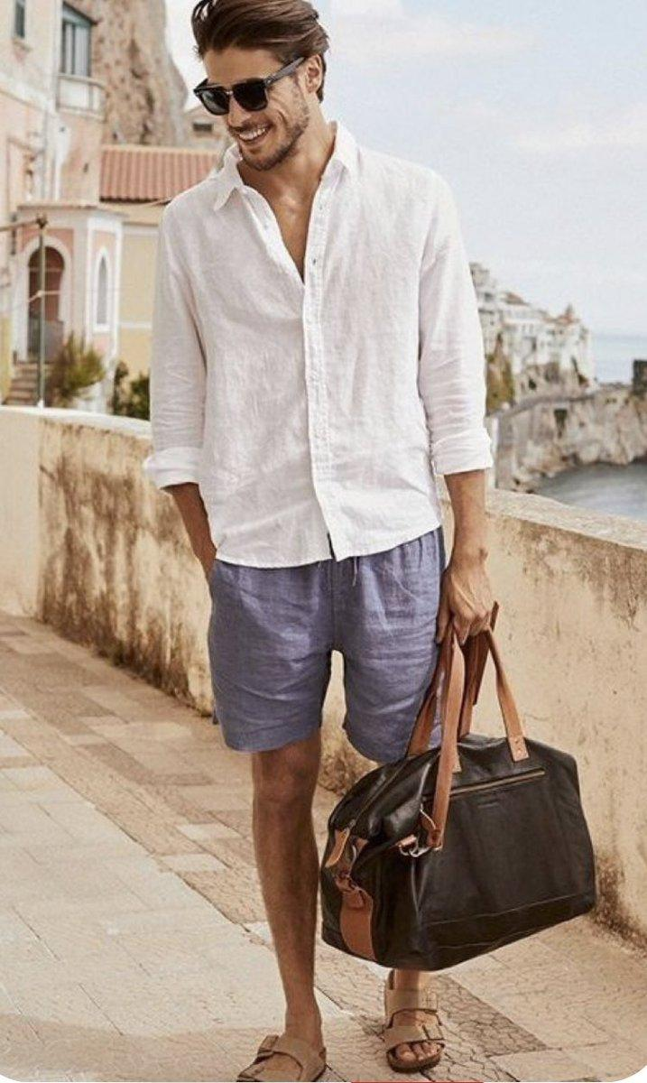 An adorable linen shirt and blue shorts and you're ready to go