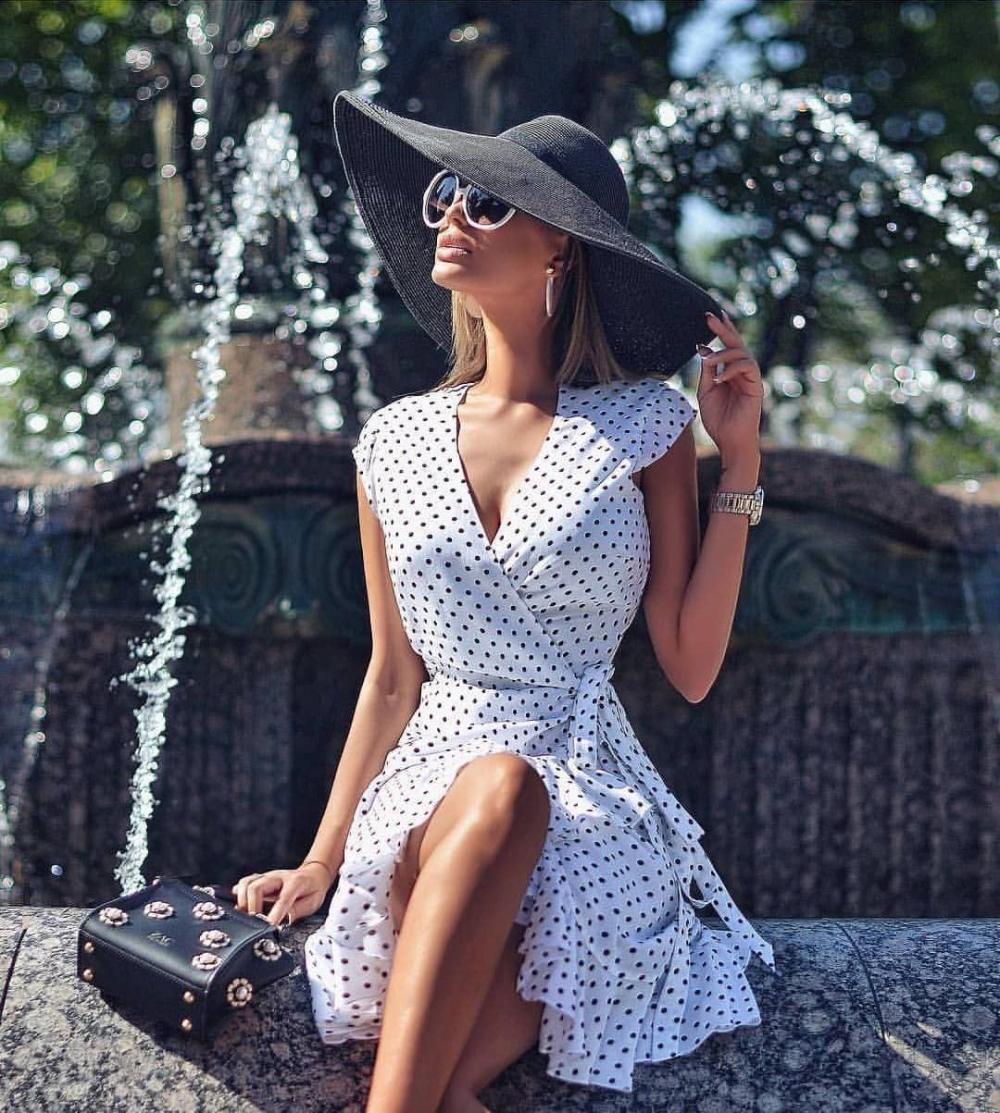 Womens Long Dresses for Summer Vacation, Short & Long Sleeves, White Floral & Polka Dot