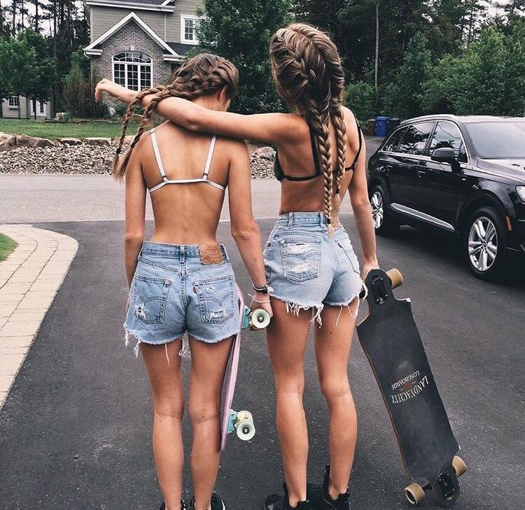What could be nicer than girls in denim shorts on skateboards?