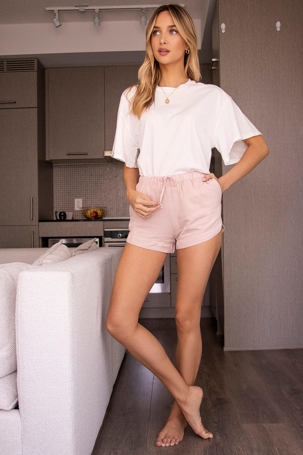 Oversized tee is perfectly matched to these pink cotton shorts