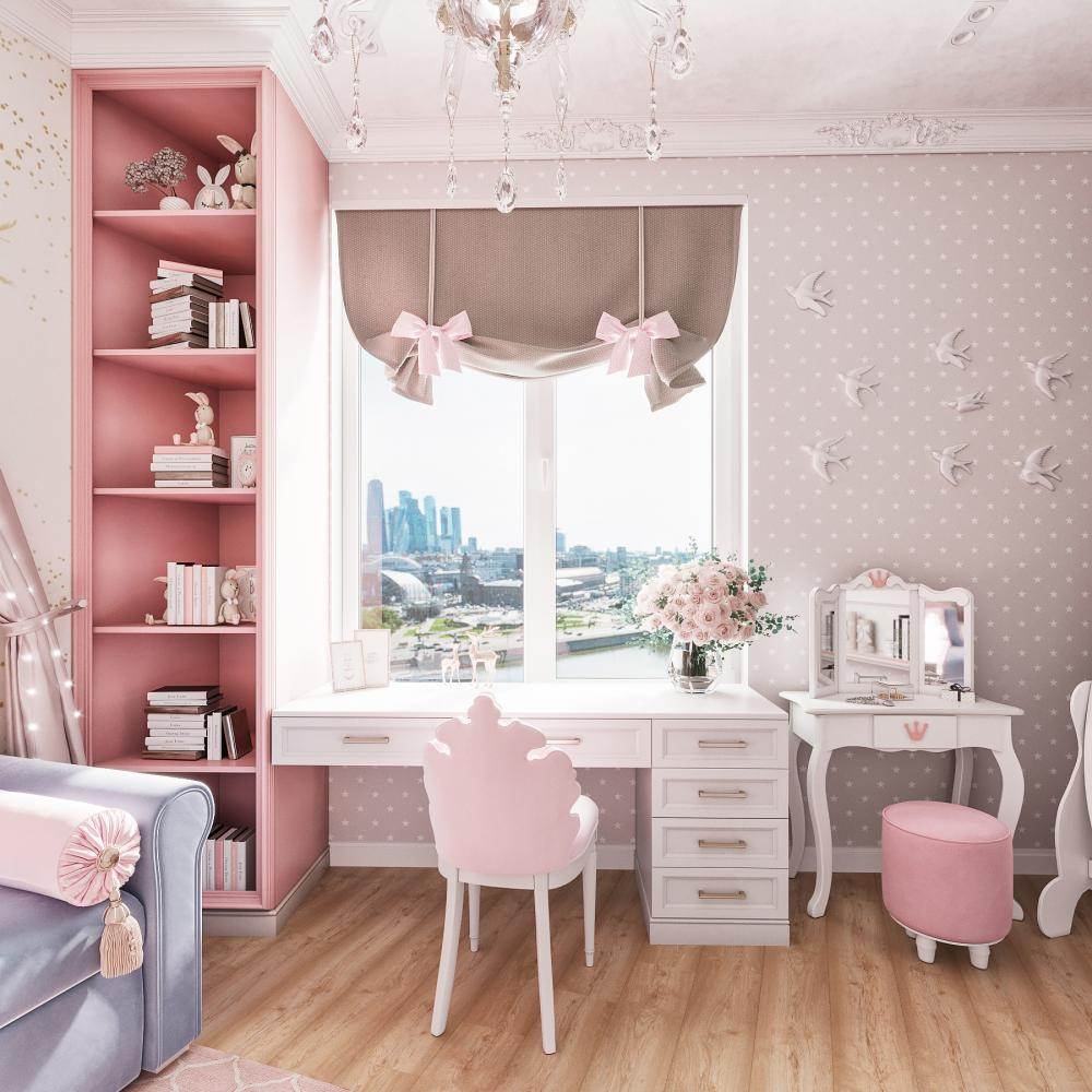 Creative ideas for a cute pink girl's room interior