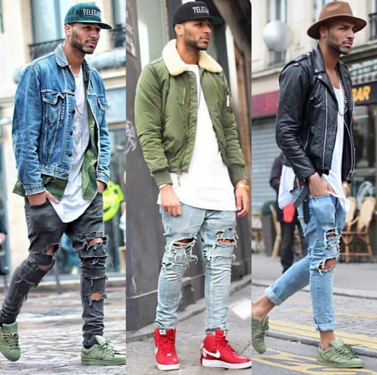 Men's fashionable jeans at autumn looks
