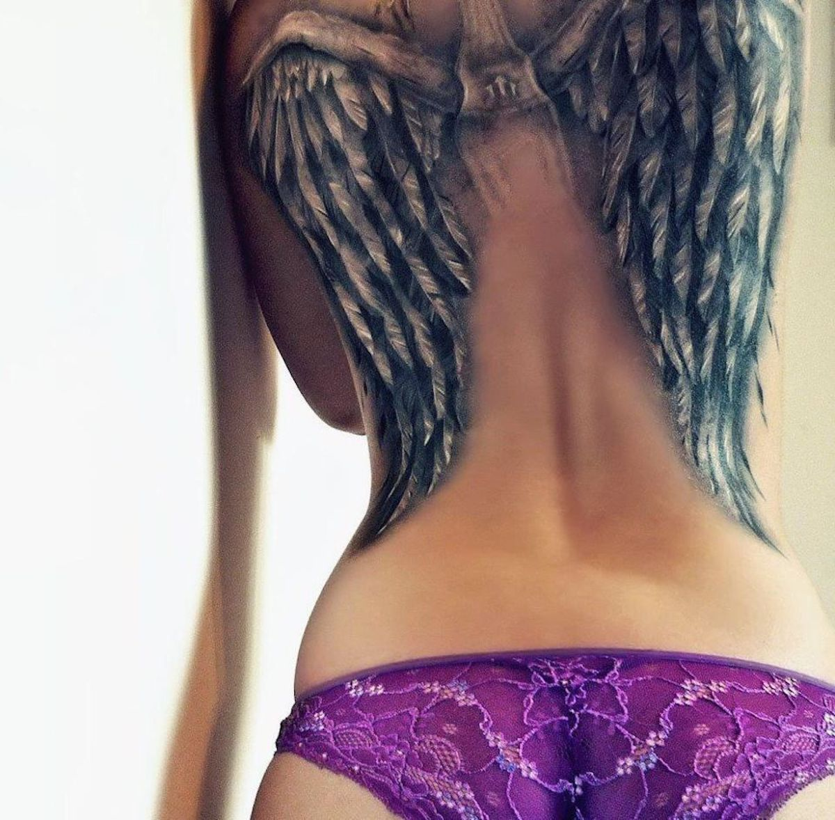 Angel's wings on the woman's back