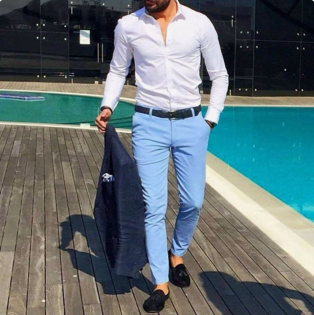 white and Blue - the Best Pant Shirt Combination