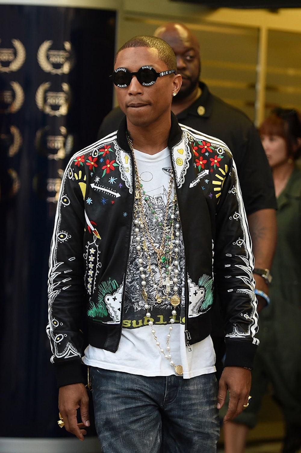 Pharrell Williams in the Retro Adidas Track Jacket