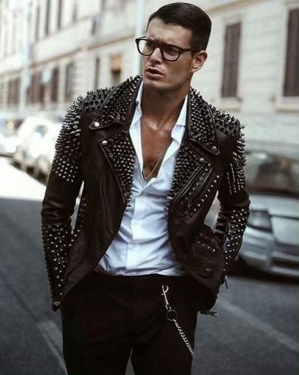Men Leather Studded Biker Jacket