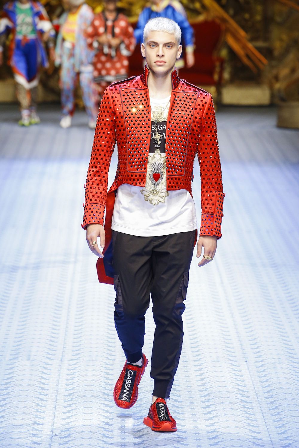 Men's Red Blazer With Studs - Dolce & Gabbana Spring 2019 Men's Collection