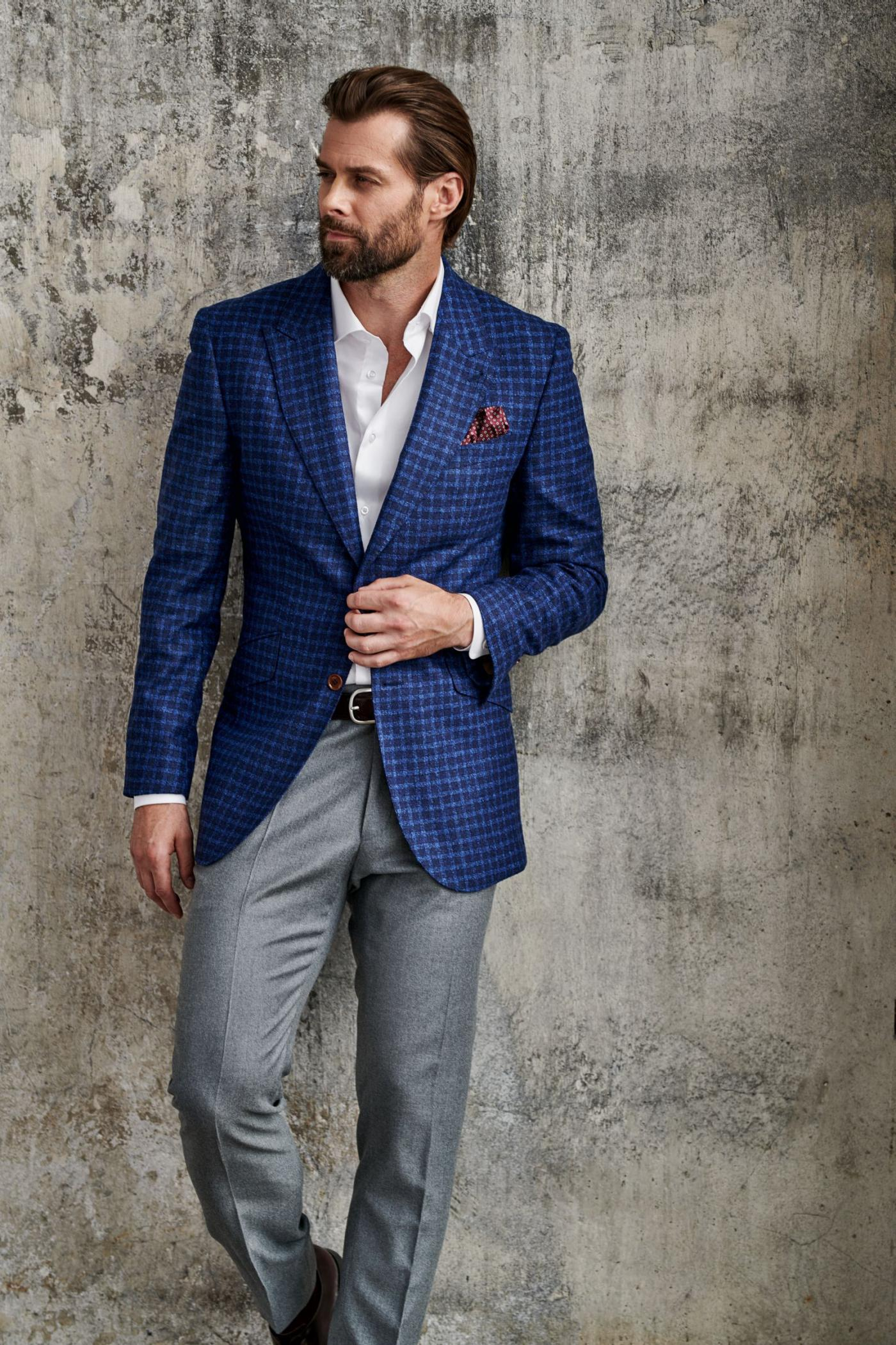 Gentleman's outfit for man it's stylish blue jacket in squares and grey pants