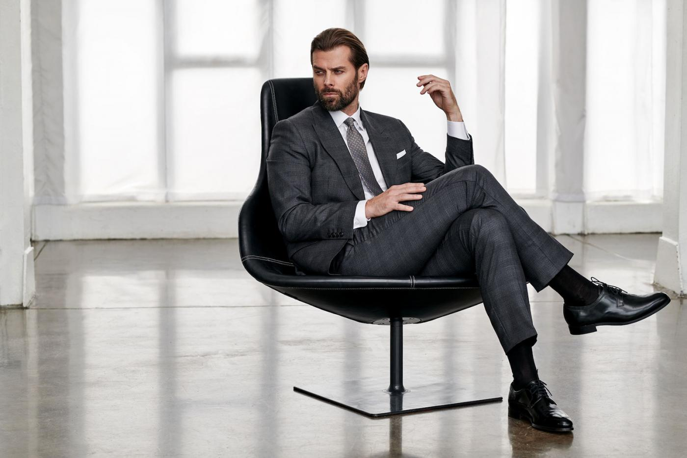 Business outfit for meetings in grey or graphite half-tones