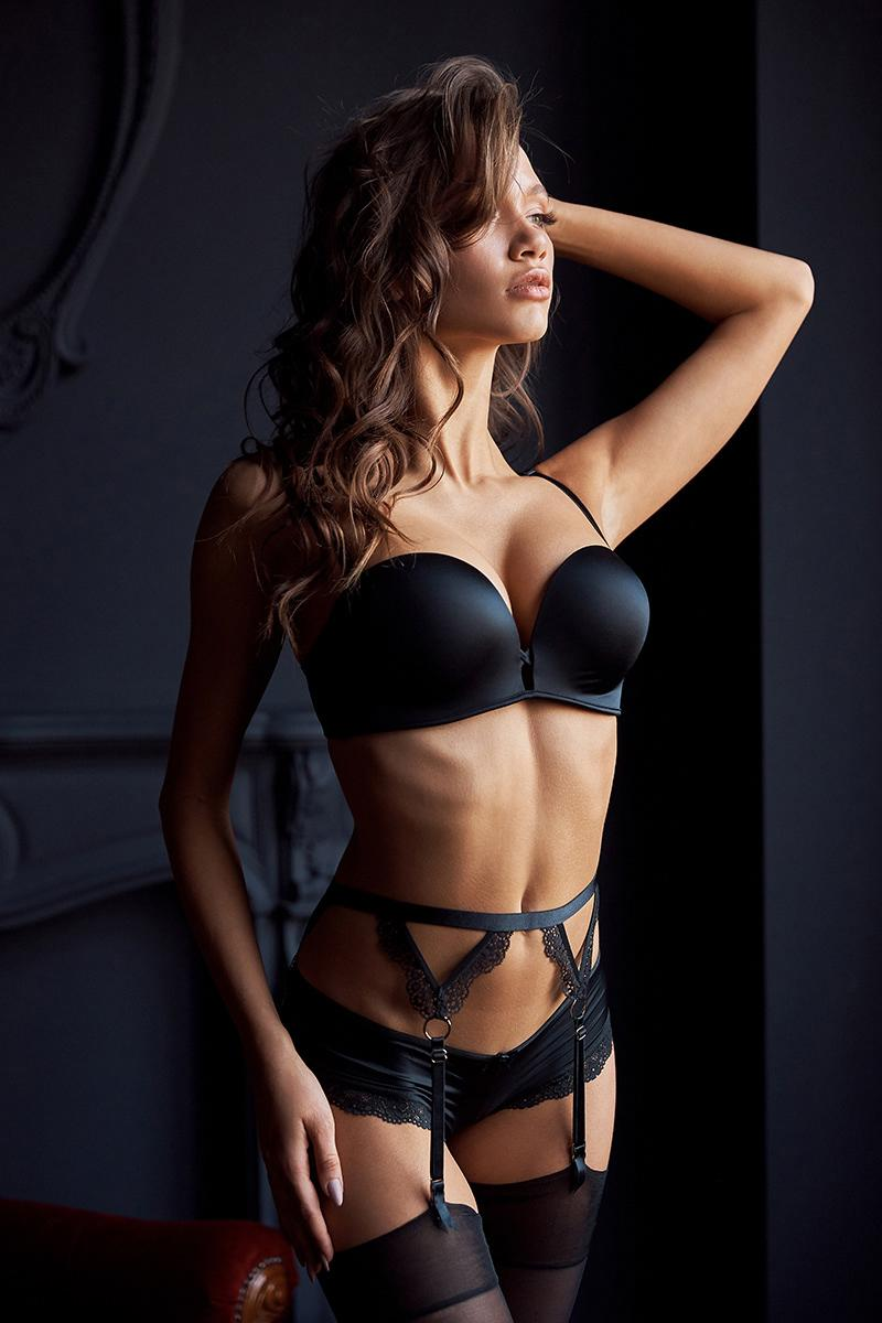 Luxury and expensive black lingerie set from Victoria