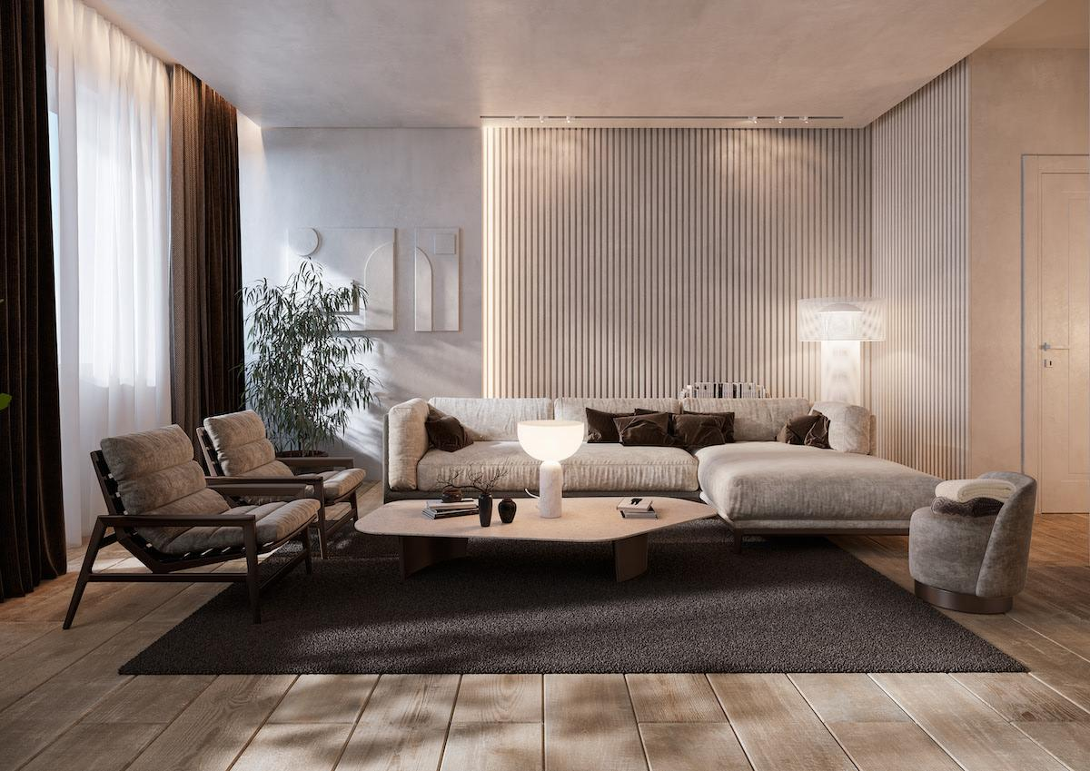 Interior design of the relax zone created in minimalistic style