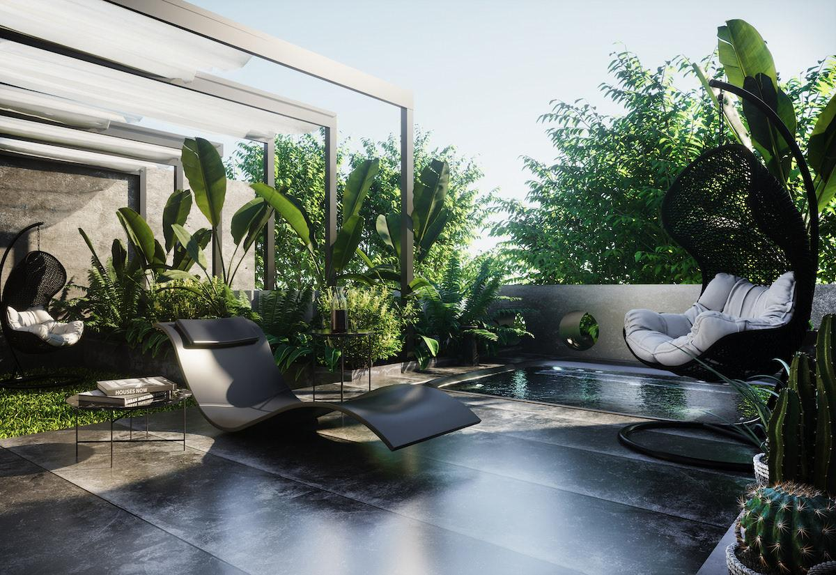 Very cozy and comfortable relax zone with greenery and small pool