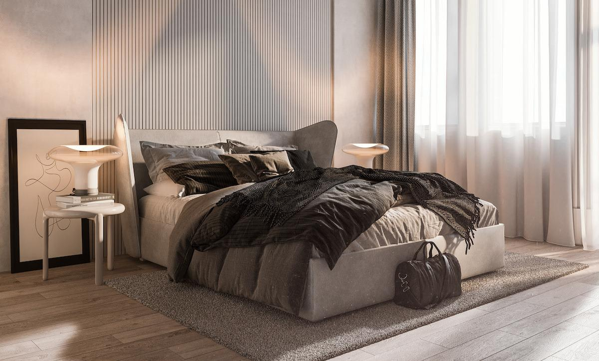Wide and comfortable bedroom designed in warm cozy colours