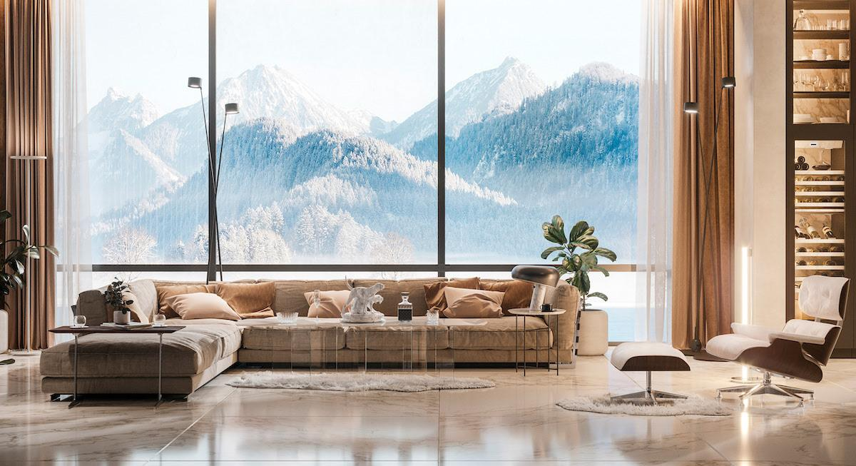 Spacious and comfortable lounge zone with the huge window