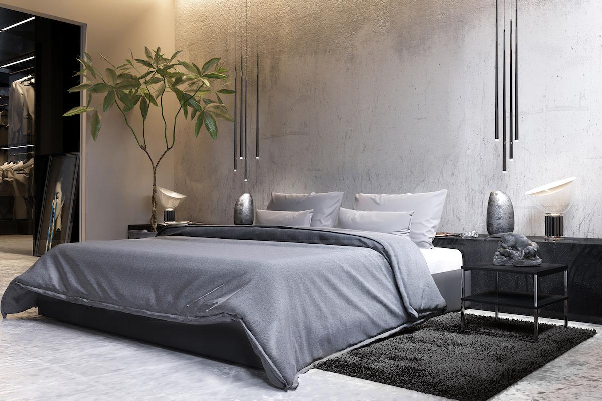 Stylish and fashionable bedroom designed in modern style