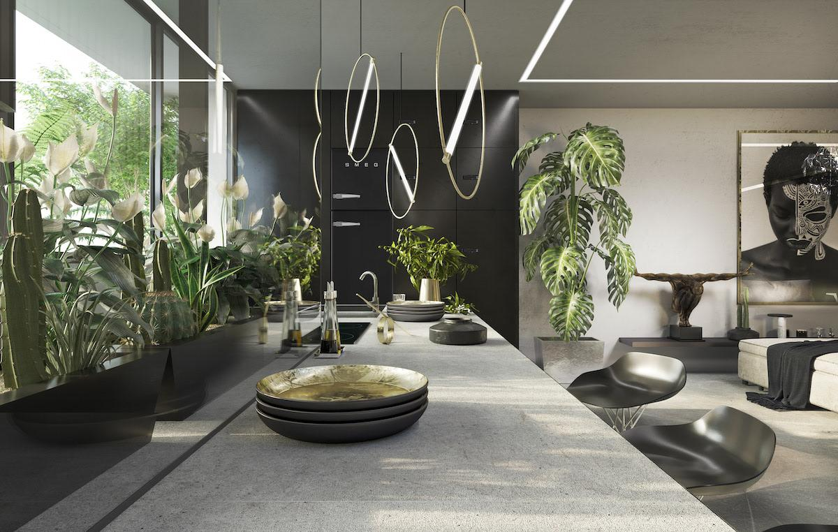 Kitchen and dining room in minimalistic restraint style and grey tones