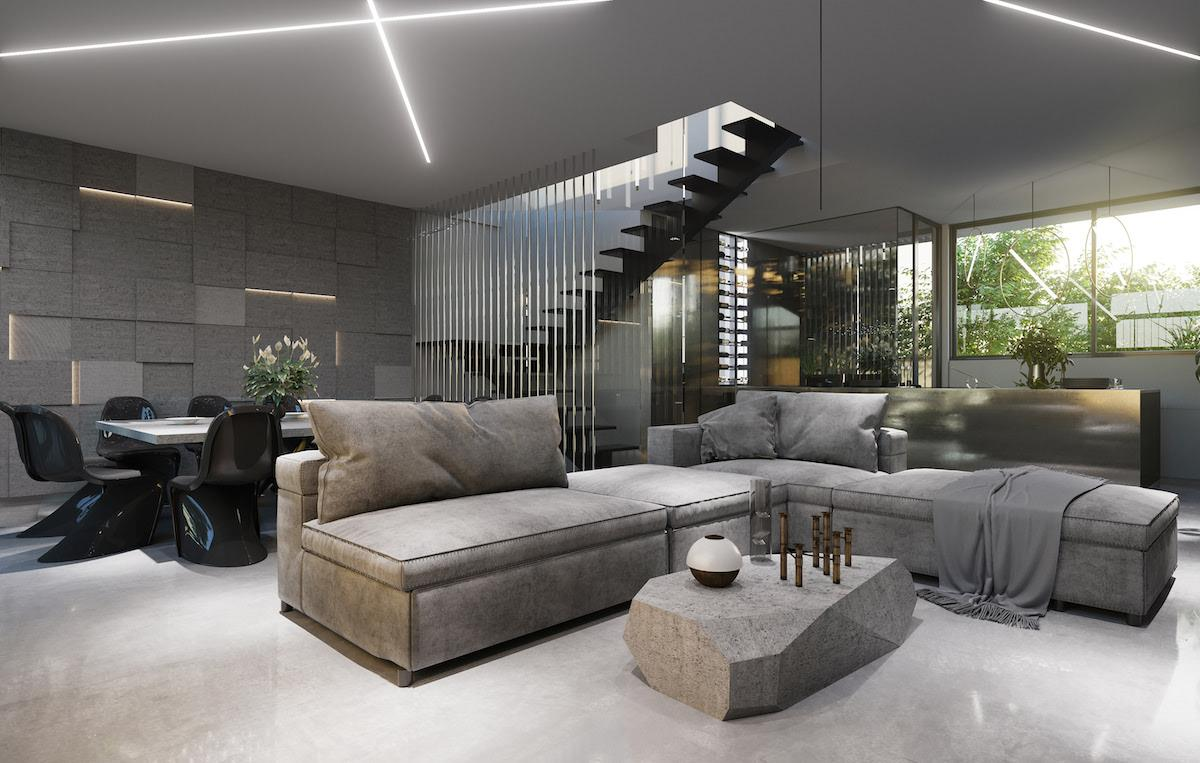 Stylish interior design of the lounge zone. Open space inspiration