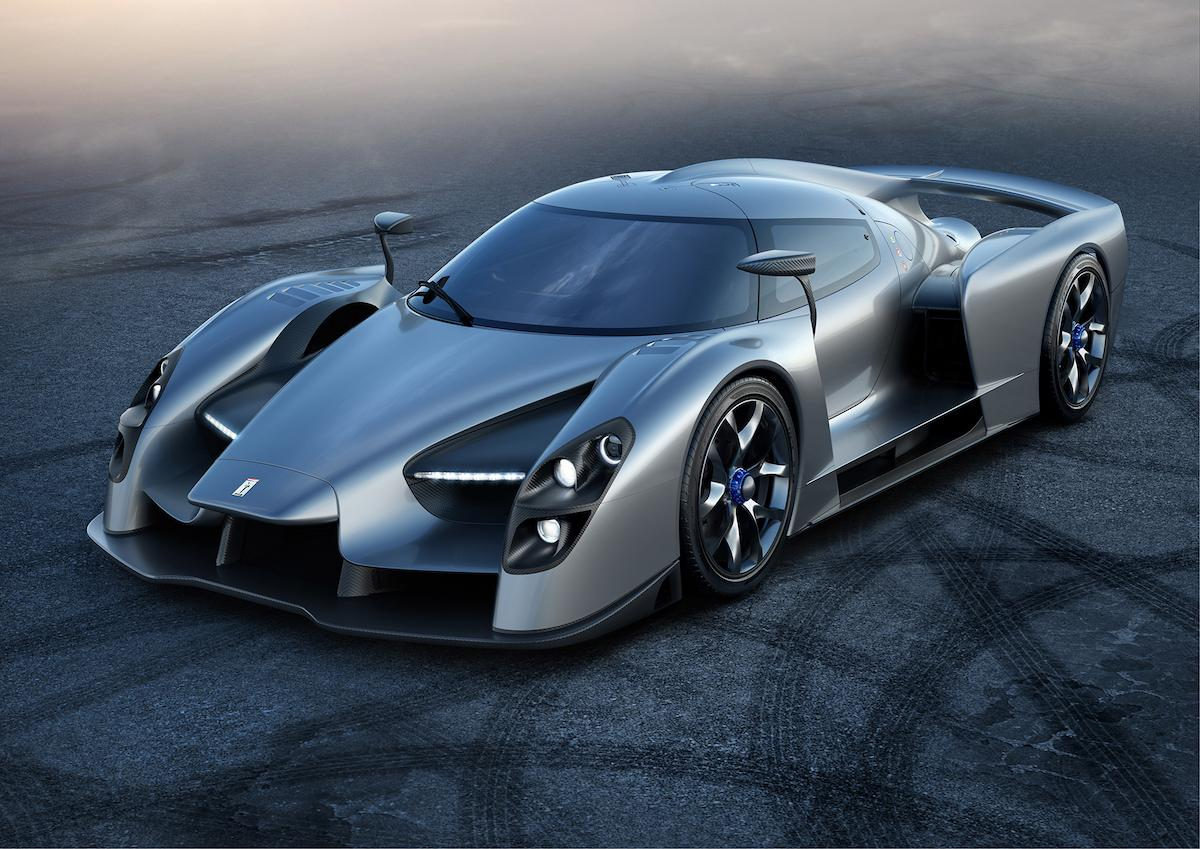 Stylish grey Scuderia Cameron Glickenhaus SCG 003 on drifting