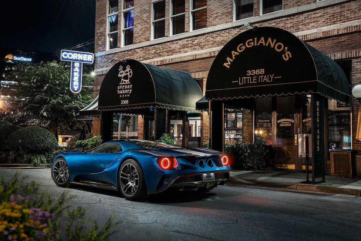 Amazing blue Ford GT on the street like an usual car