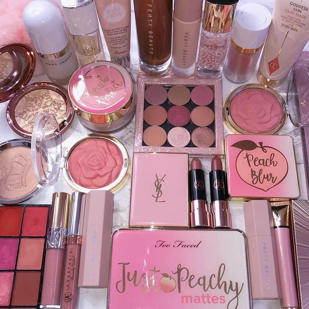 Huge set of your favourite cosmetics. All pink and beige colours