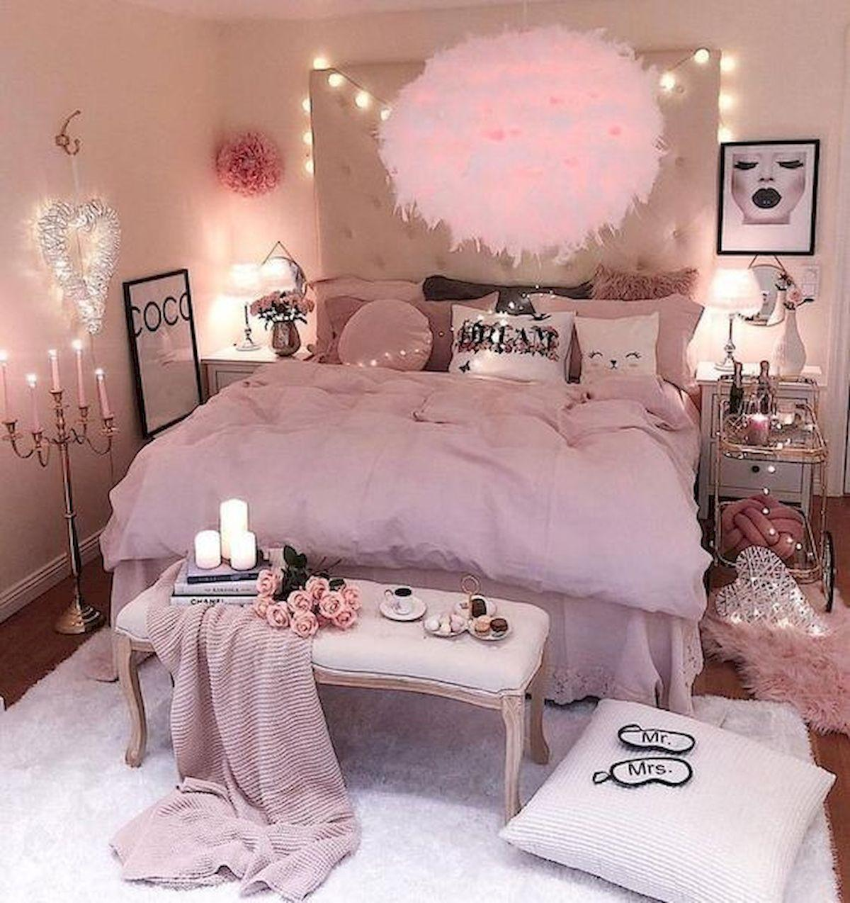 Cute and cozy bedroom for girl decorated for romantic night