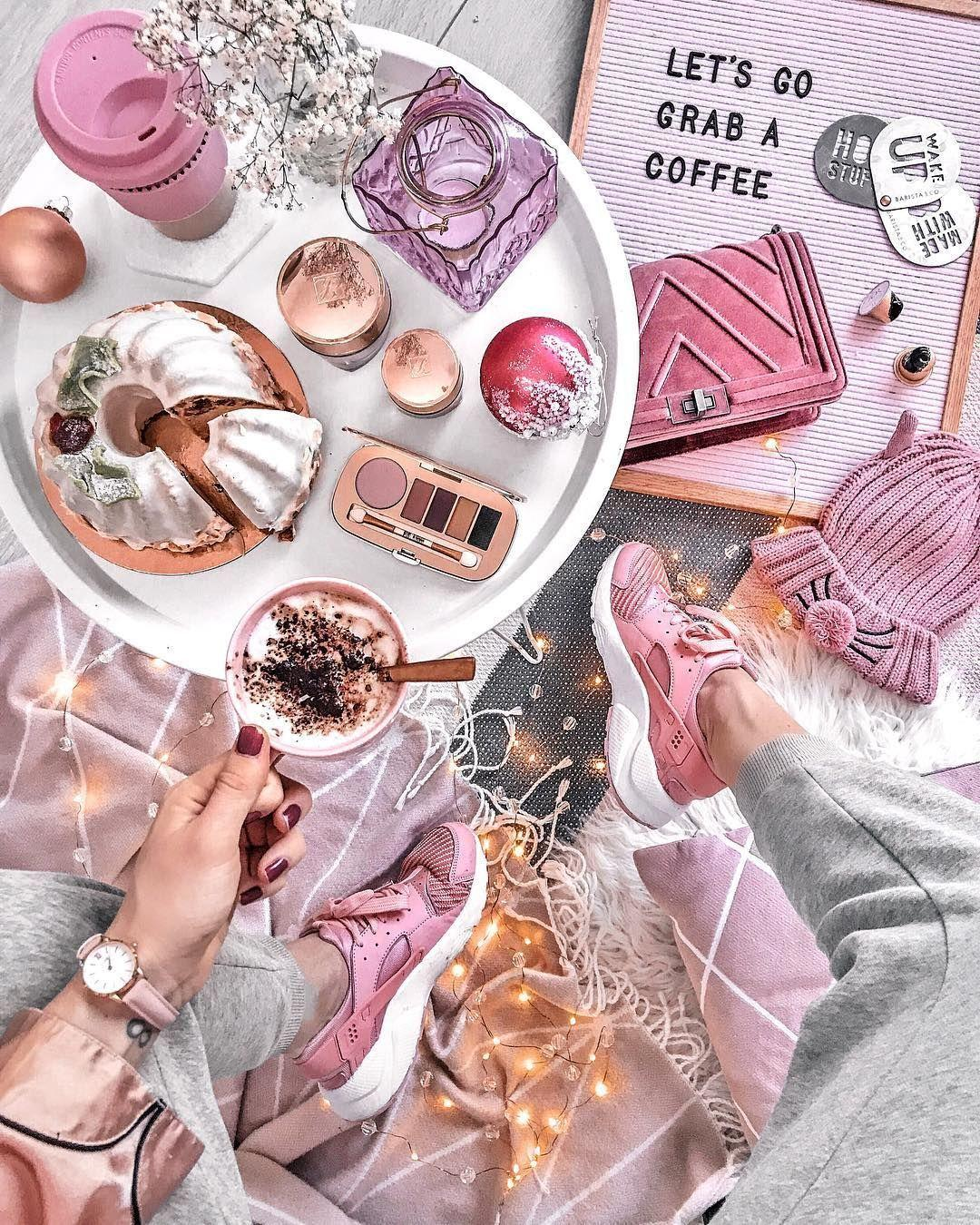 Pink life. Cosmetics and coffee with sweets are the best combination