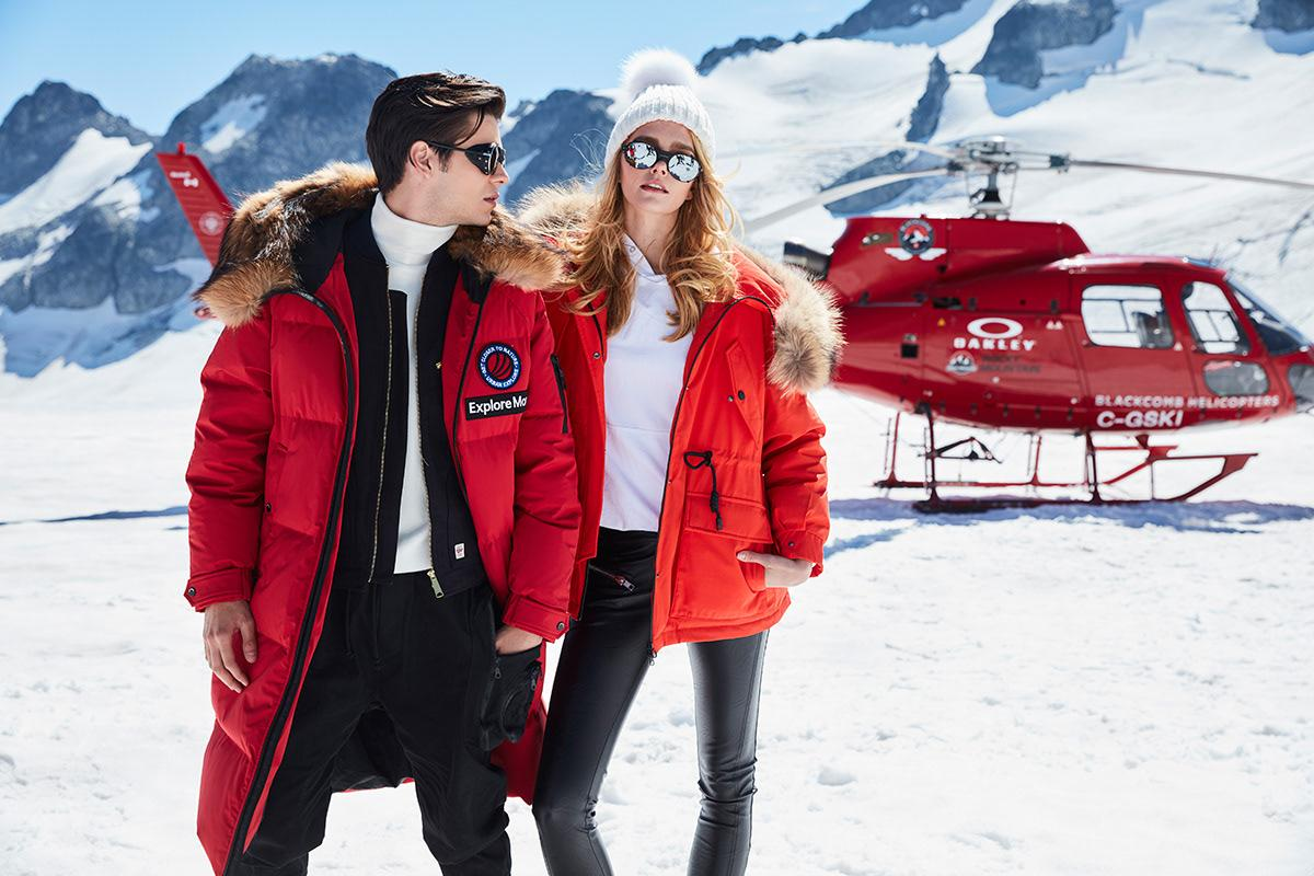 Red winter jacket is ideally suits for you ski adventure with your mate