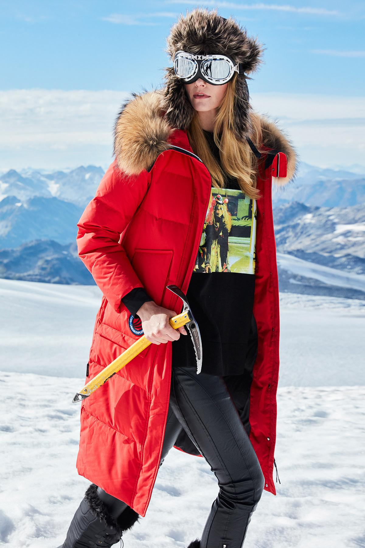 Red long winter jacket will save you if there is extremely cold