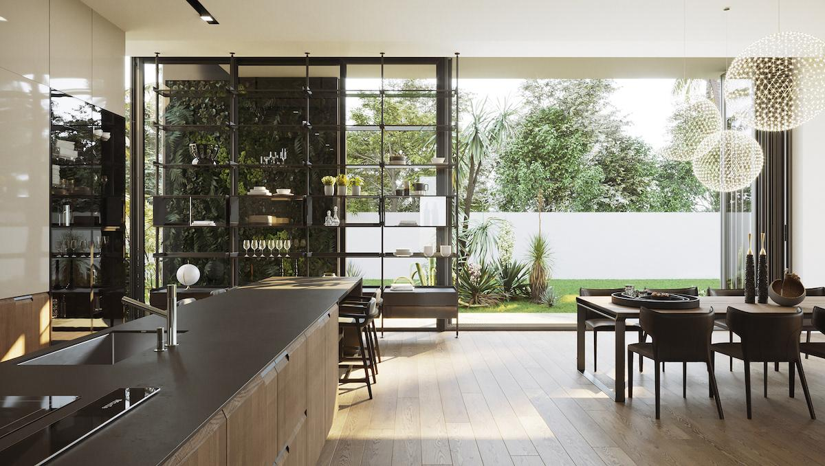 Big kitchen combined with dining area and direct access to the terrace