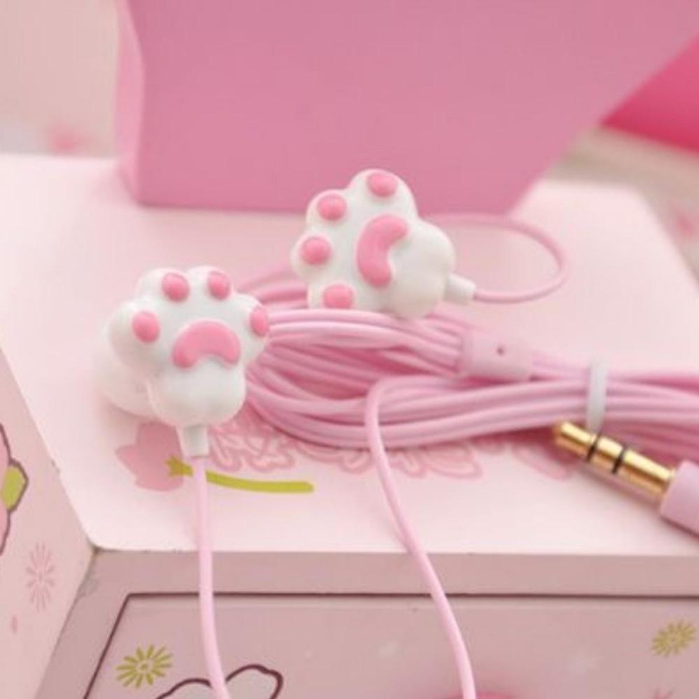 Pink headphones made as cat's paws will be a pleasant surprise for any girl on Valentine's Day