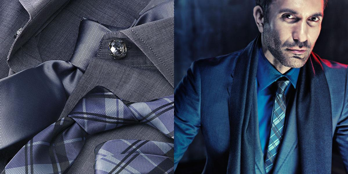 Idea for perfect combination of grey or blue shirt and square printed tie