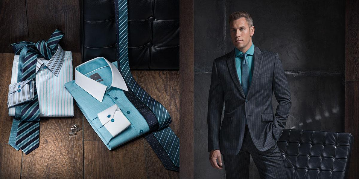 Ideas how to combine restrained colours of shirt, suit and tie in business look for men