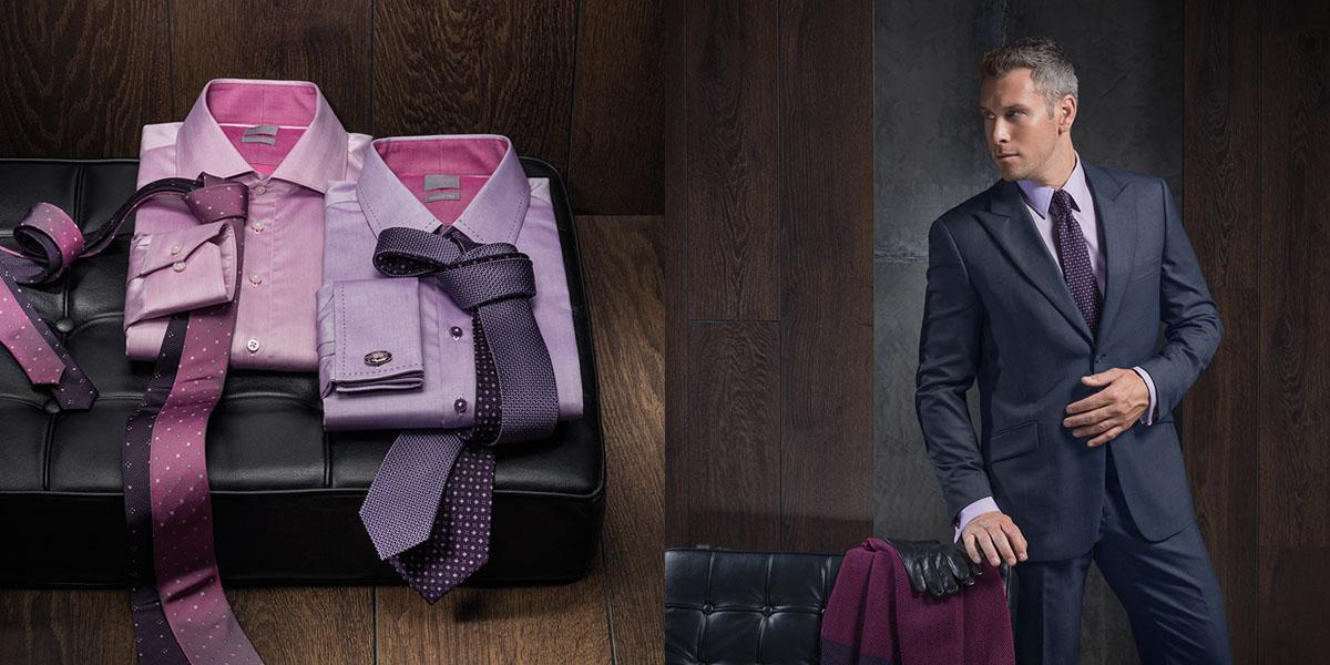 Progressive and modern look for businessman which combine pink shirt and dark coloured tie