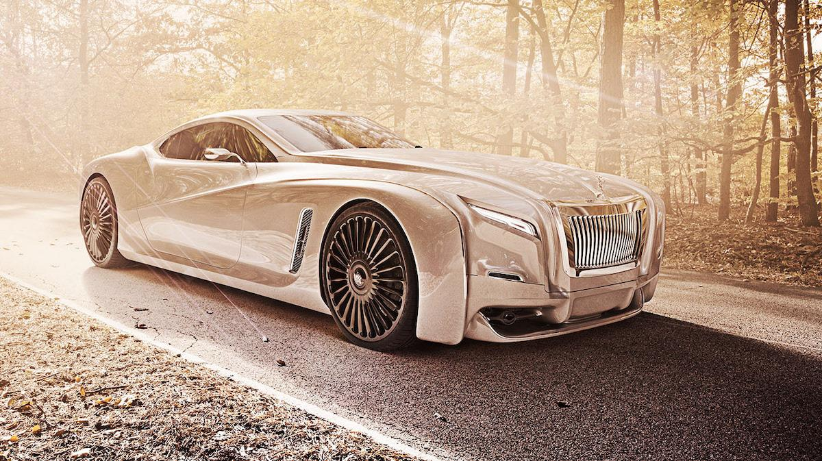 Gold painted luxury Rolls Roys coupe in autumn forest