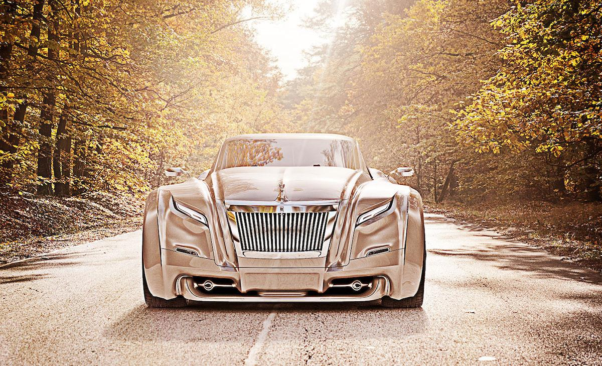 Predatory look of fearsome Rolls Roys coupe on the road