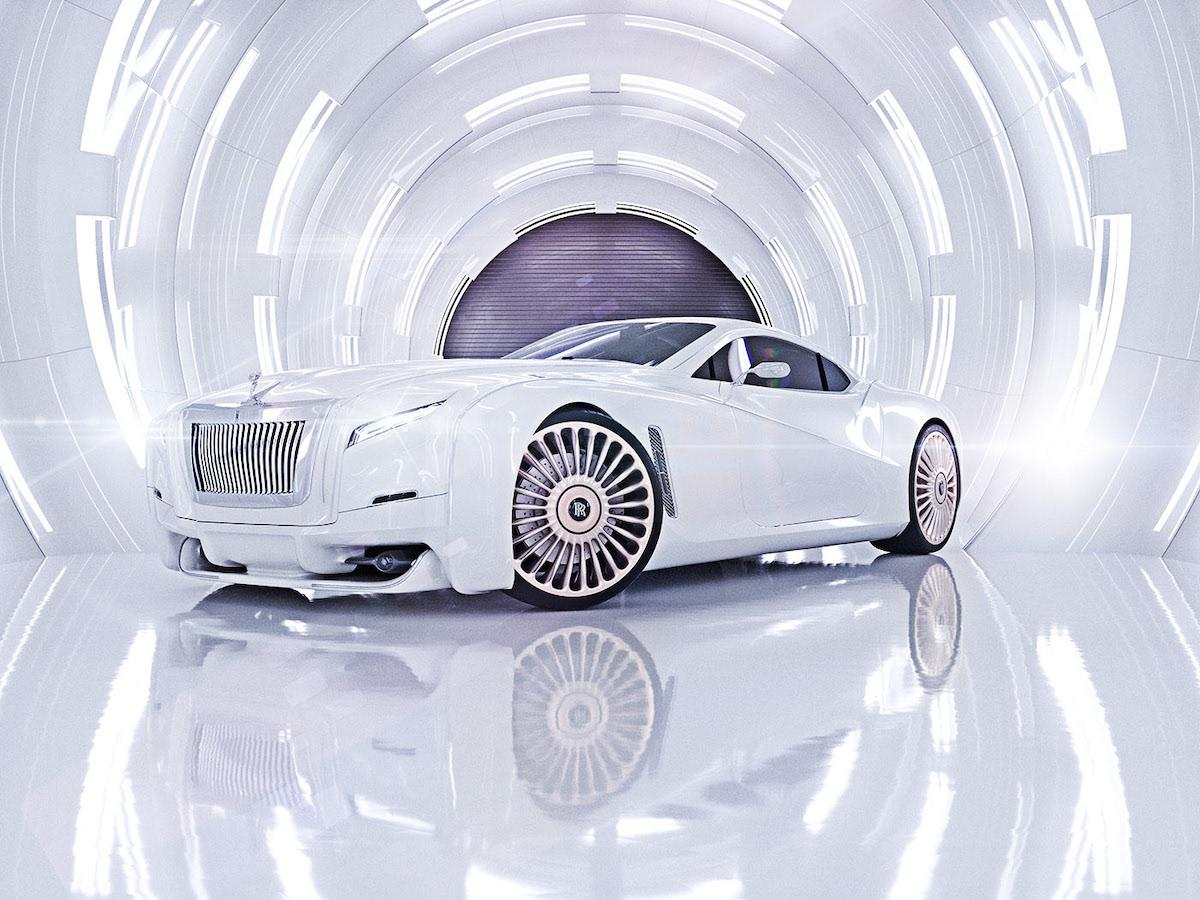 Snowy white version of redesigned luxury auto Rolls Roys coupe