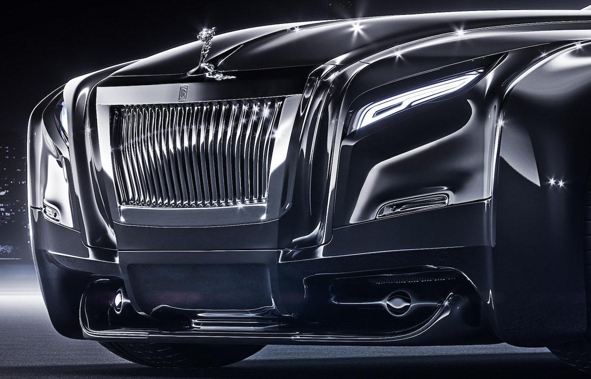 Outstanding redesign of luxury Rolls Roys coupe. Front view