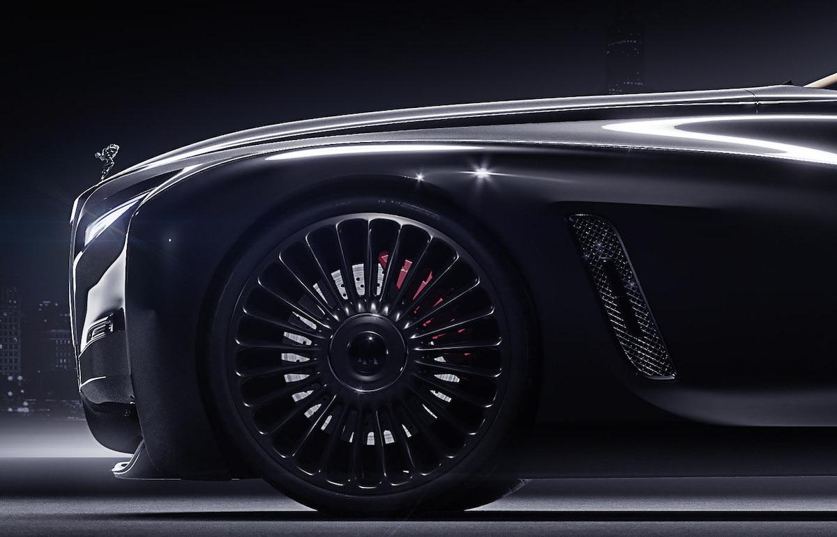 Front left side of redesigned Rolls Roys coupe. Main focus on the black wheel