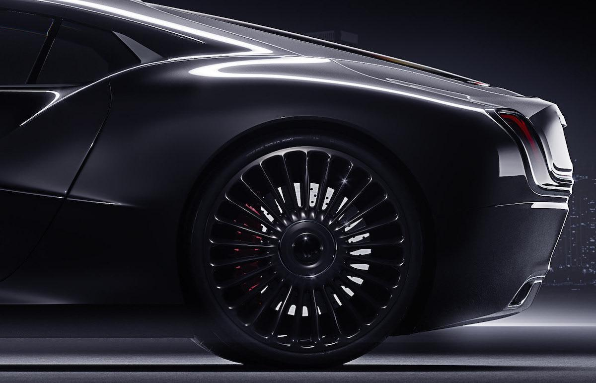 Rear left side of redesigned luxury car Rolls Roys coupe