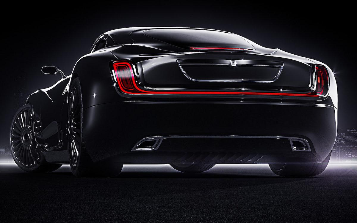 Great rear optics of redesigned luxury black Rolls Roys coupe