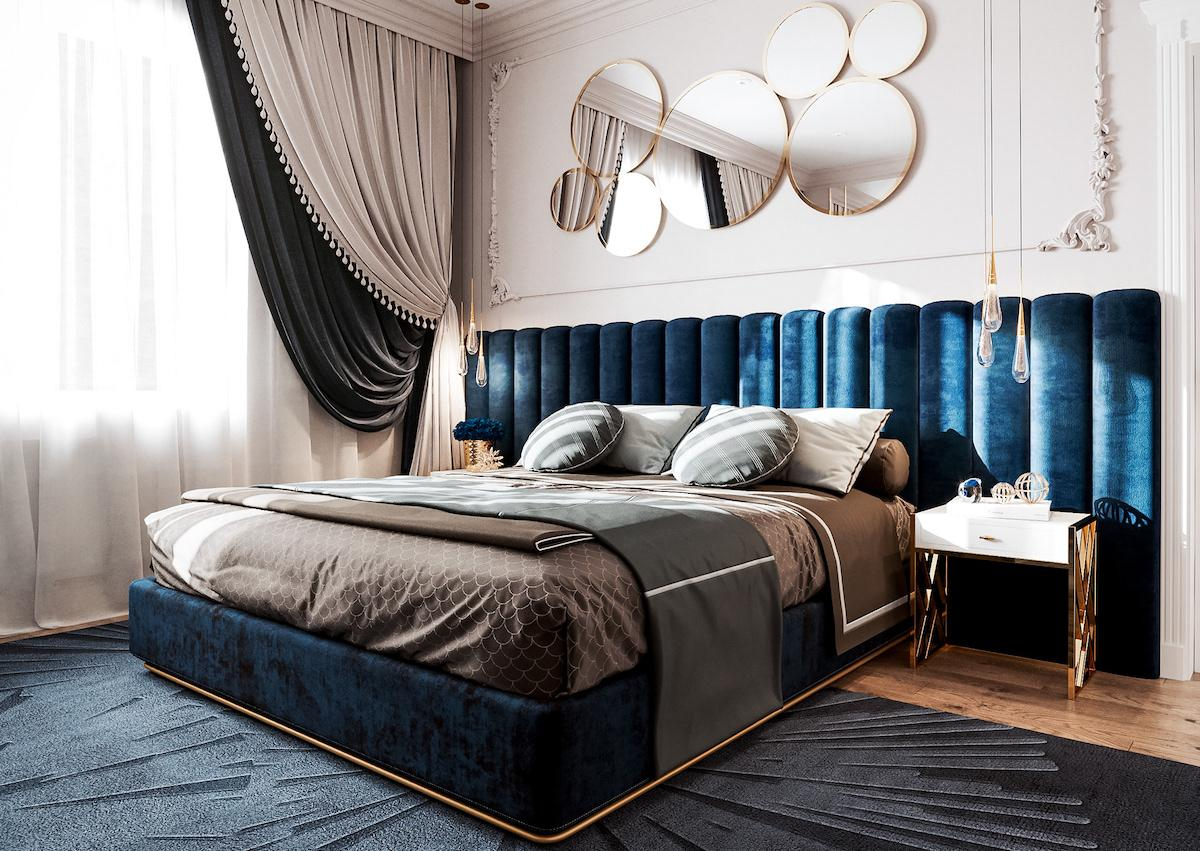 Stylish and comfortable bedroom interior design made in calm blue halftones