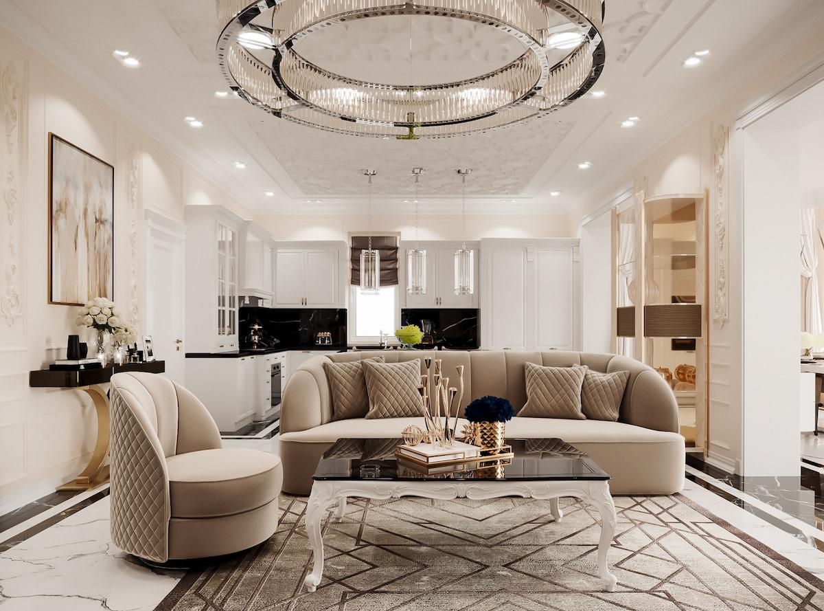 Light and spacious lounge with expensive furniture to underline exquisite style