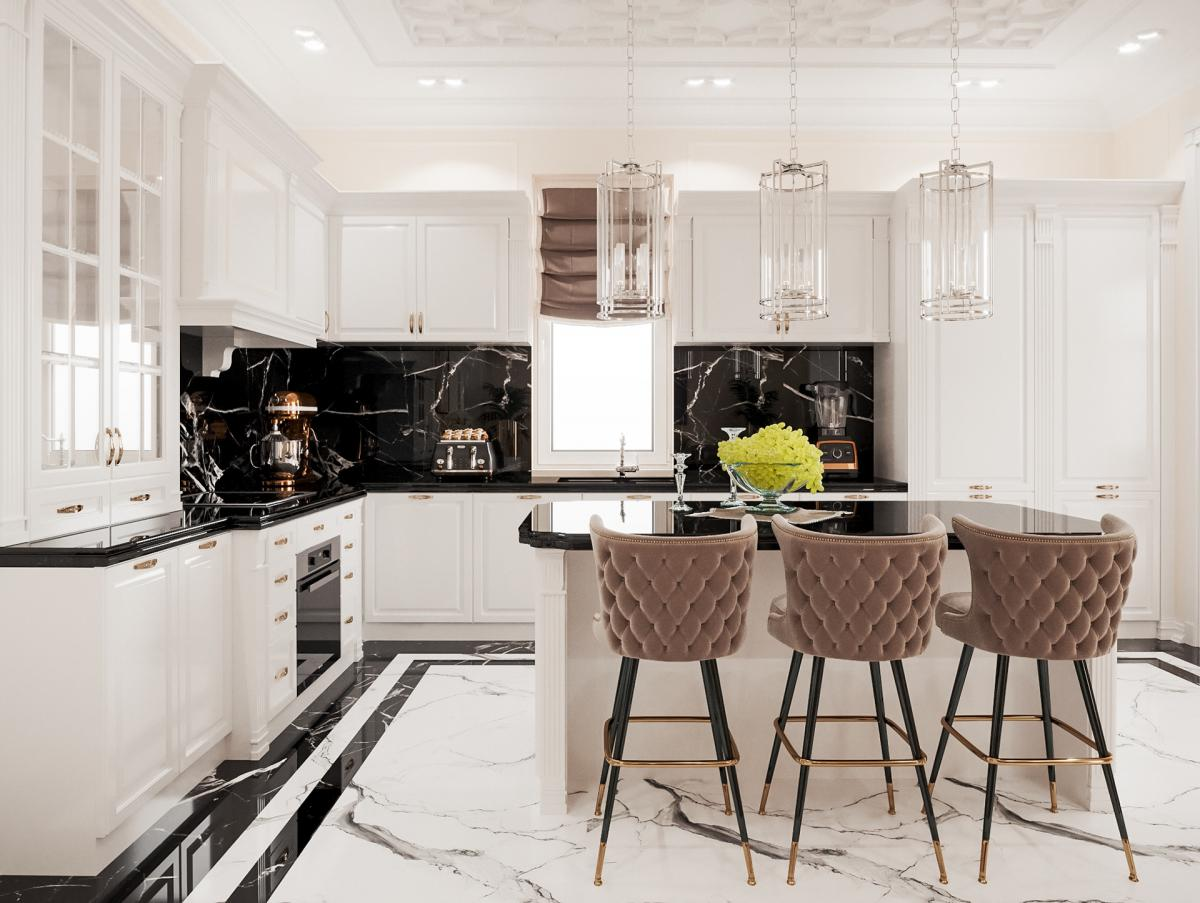 Perfectly designed kitchen in white and black colours with marble pattern