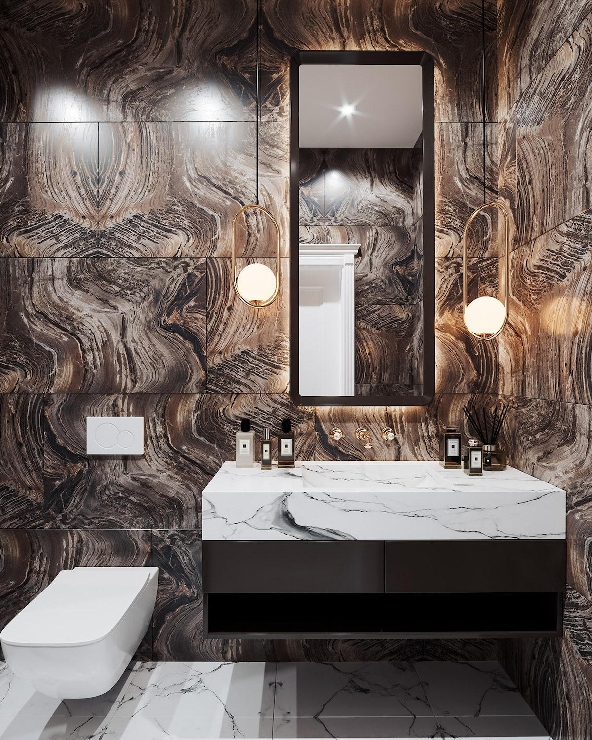 Gorgeous made bathroom with contrast of brown walls and dazzling white sanitary ware