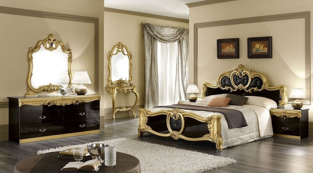 A noble gold decorated black bedroom for true connoisseurs
